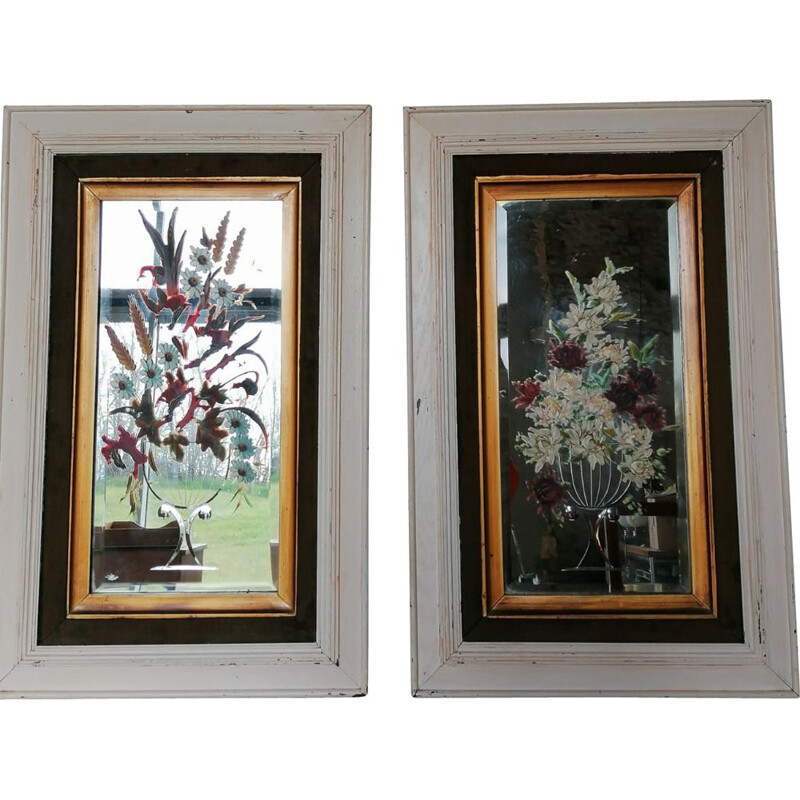 Pair of vintage engraved and hand painted mirrors