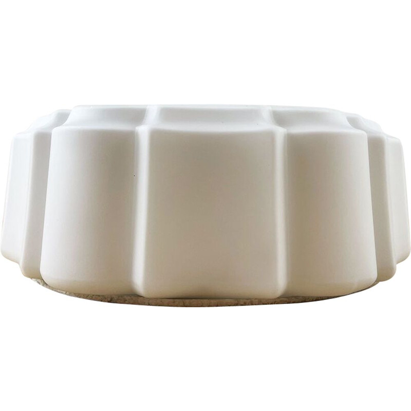 Vintage White Opaline Glass Wall Lamp, Spain 1970s
