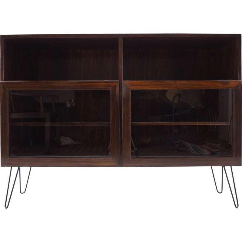 Vintage Upcycled Palisander Glass Bookcase, Denmark 1960s
