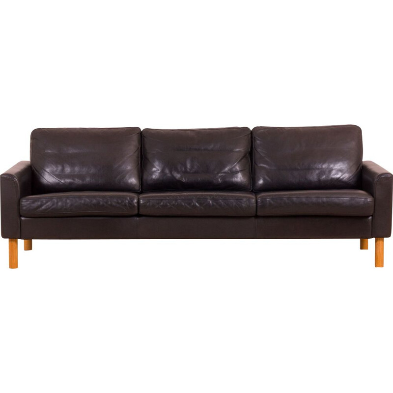 Vintage black buffalo leather sofa on oak legs in Borge Mogensen, Scandinavian
