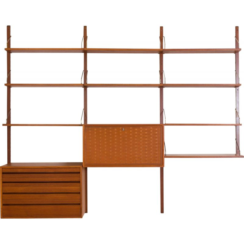Vintage Poul Cadovius teak Royal wall unit with a desk cabinet and drawers and 9 shelves, Denmark 1960s