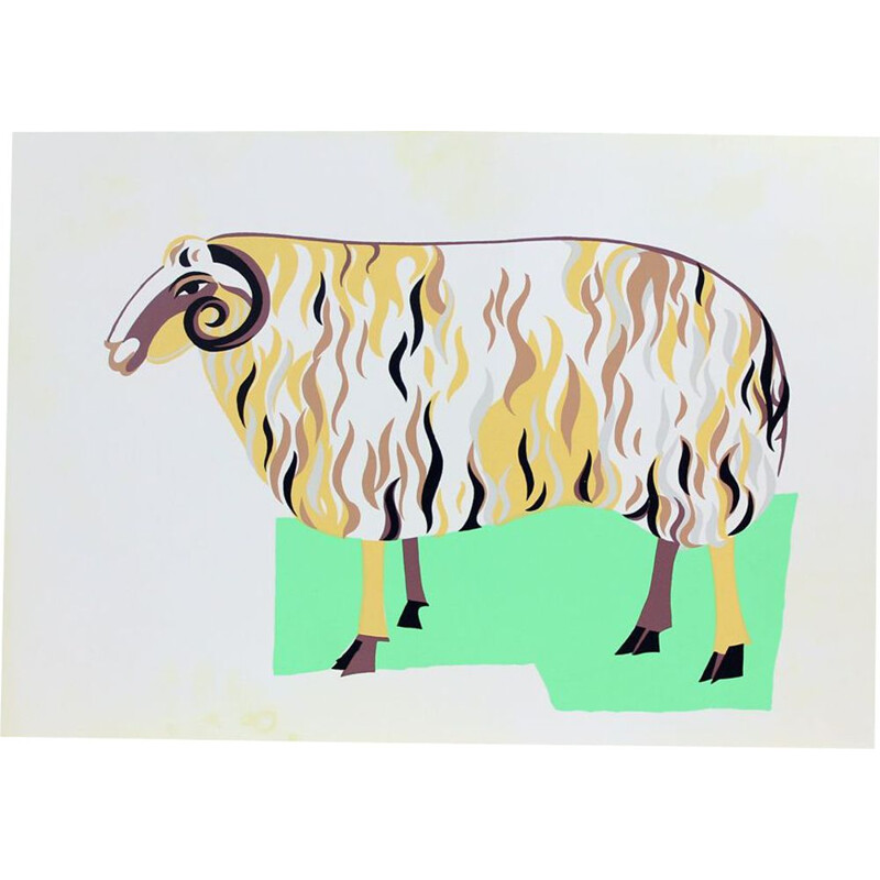 Vintage Colorful Plastic Wall Art Ilustration Of Ram, Czechoslovakia 1960s