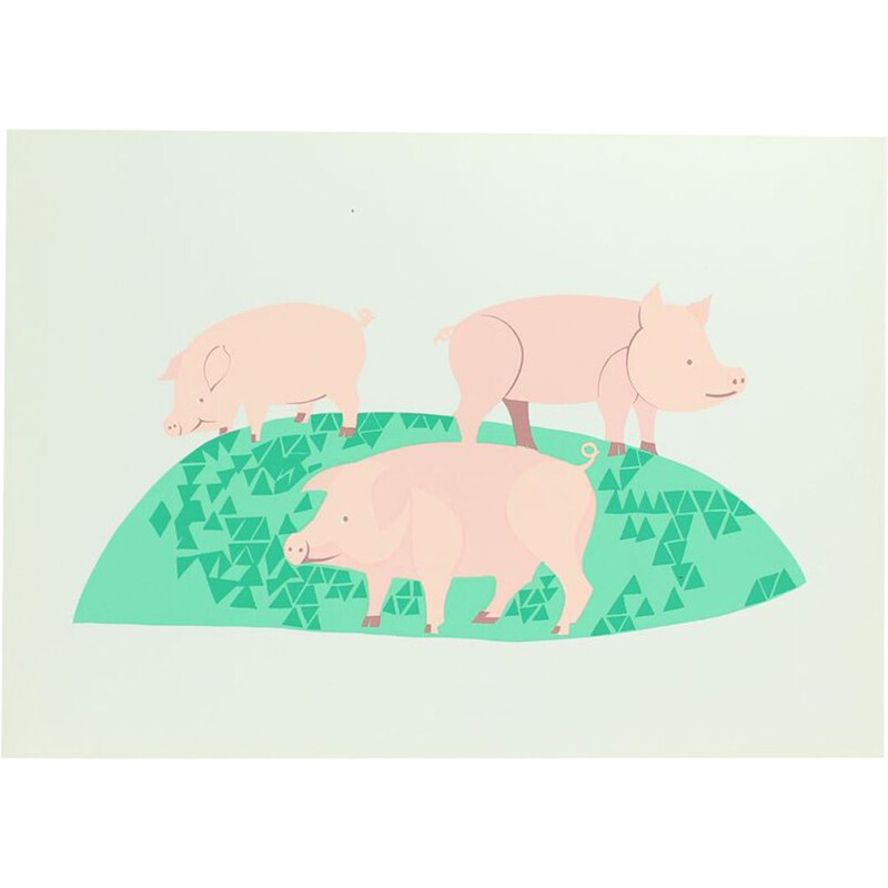 Vintage Colorful Plastic Wall Art Ilustration Of Three Pigs, Czechoslovakia 1960s