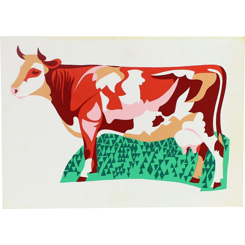 Vintage Colorful Plastic Wall Art Ilustration Of Cow, Czechoslovakia 1960s