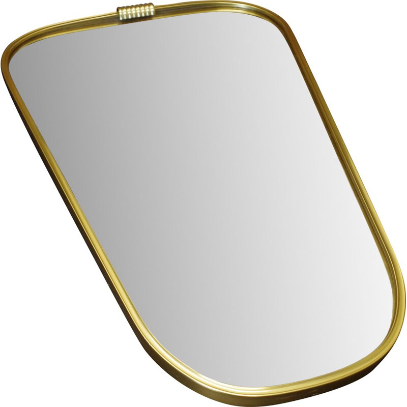 Vintage Rockabilly asymmetrical mirror in a golden metal frame