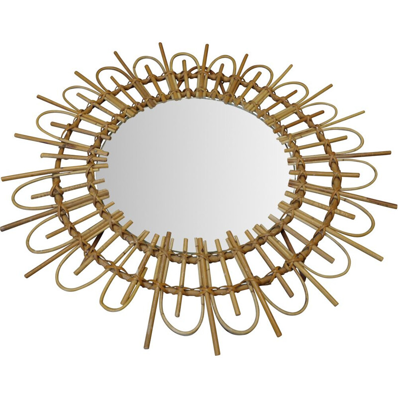 Vintage Round mirror in a bamboo frame