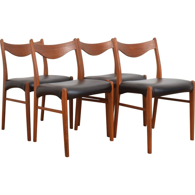 Set of 4 vintage Teak Dining Chairs by Arne Wahl Iversen & Glyngore Stolefabrik, Danish 1960s