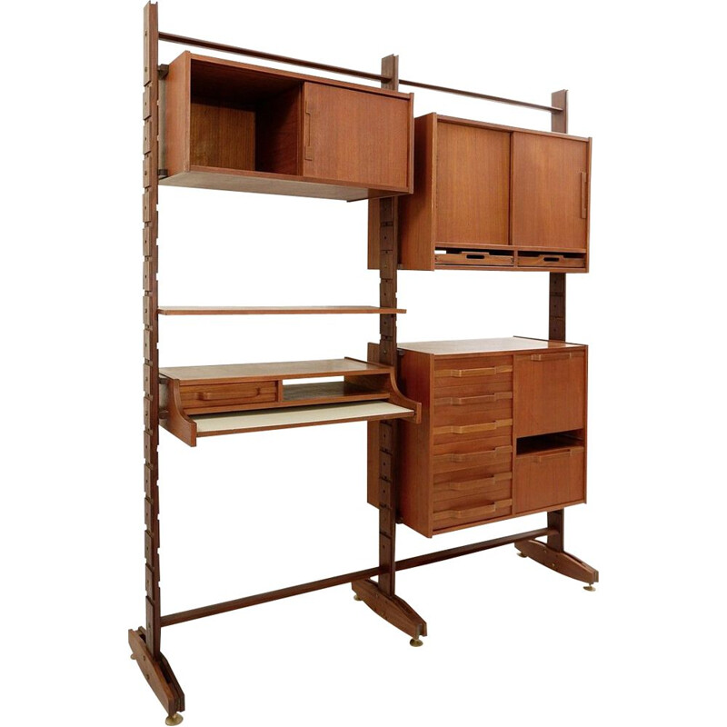 Vintage Two-Sided  Teak Shelves Bookcase, Italian 1950s