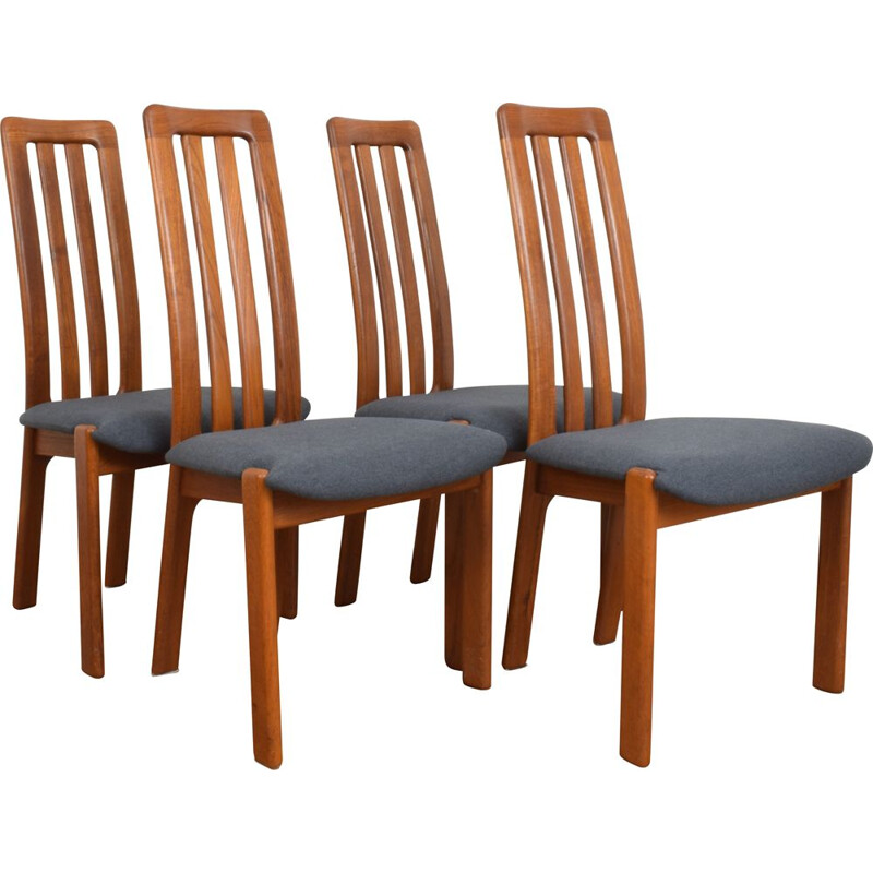 Set of 4 vintage Teak Dining Chairs, Danish 1970s