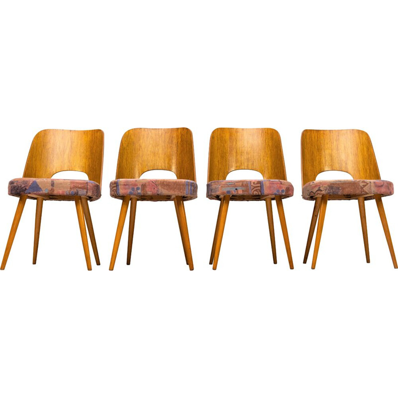Set of 4 vintage Dining Chairs by Oswald Haerdtl, Czechoslovakia 1960s