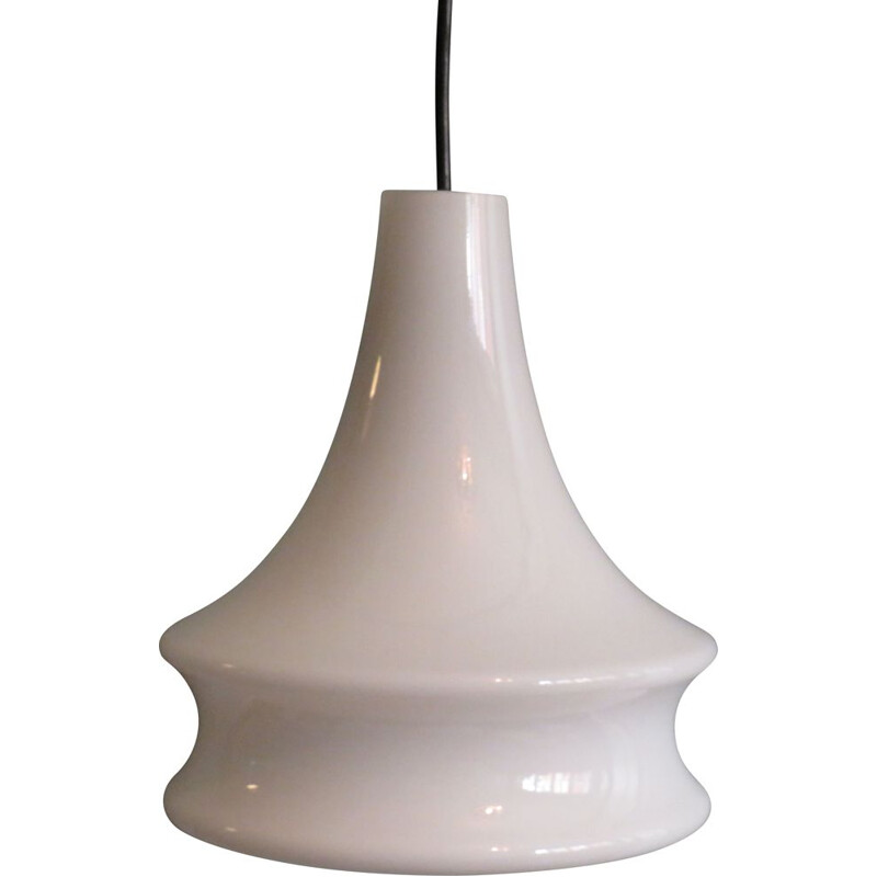 Vintage White Opaline hanging lamp by Peill & Putzler, Germany 1960s