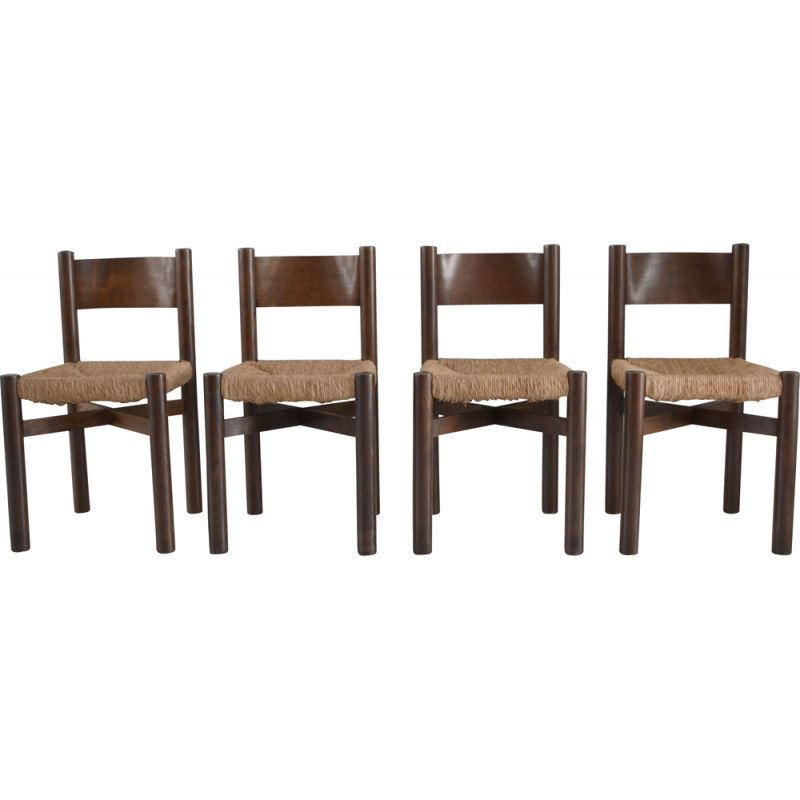 Set of 4 vintage chairs model Meribel by Charlotte Perriand 1950s