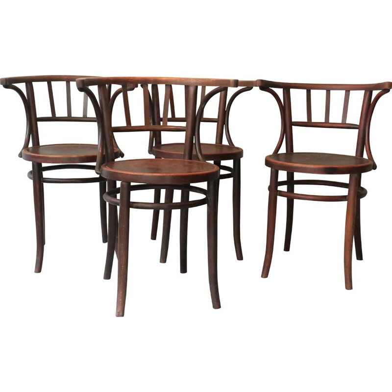 Set of 4 vintage bent wood chairs 1960s