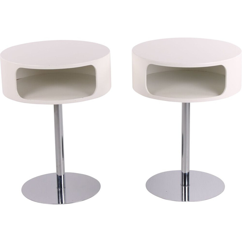 Pair of vintage Space Age Tables or bedside tables with chrome base, Denmark 1970s