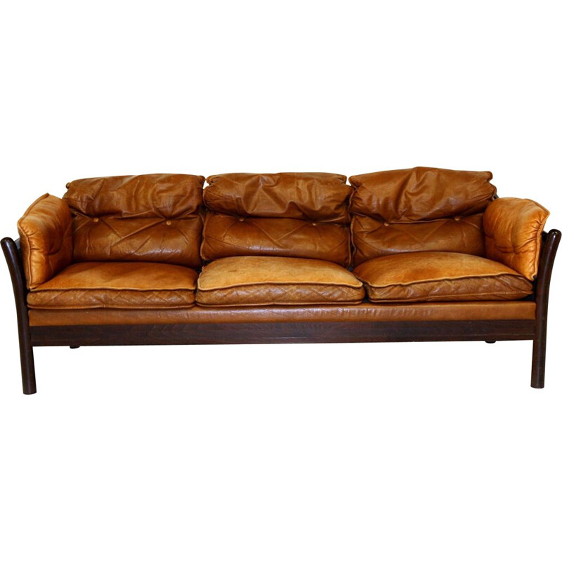 Vintage 3 seater leather sofa, Sweden 1960s