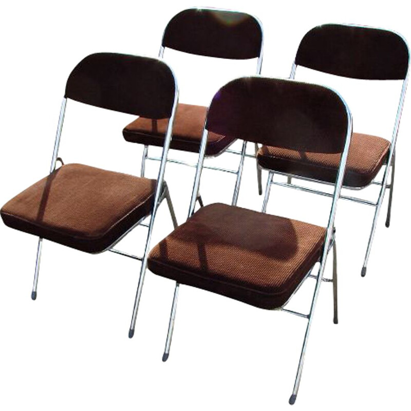 Set of 4 vintage folding chairs 1970s