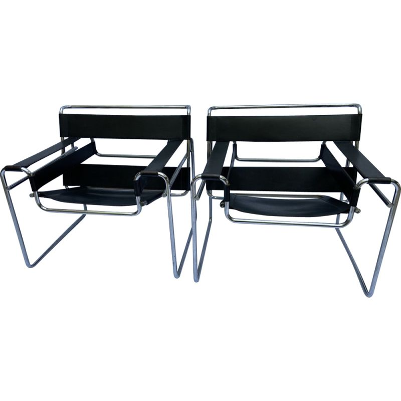 Pair of vintage Wassily armchairs by Marcel Lajos Breuer 1968s
