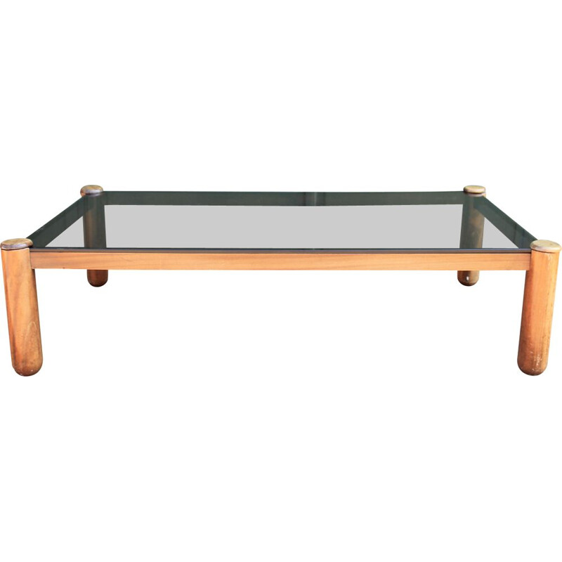 Vintage coffee table with glass top 1960s