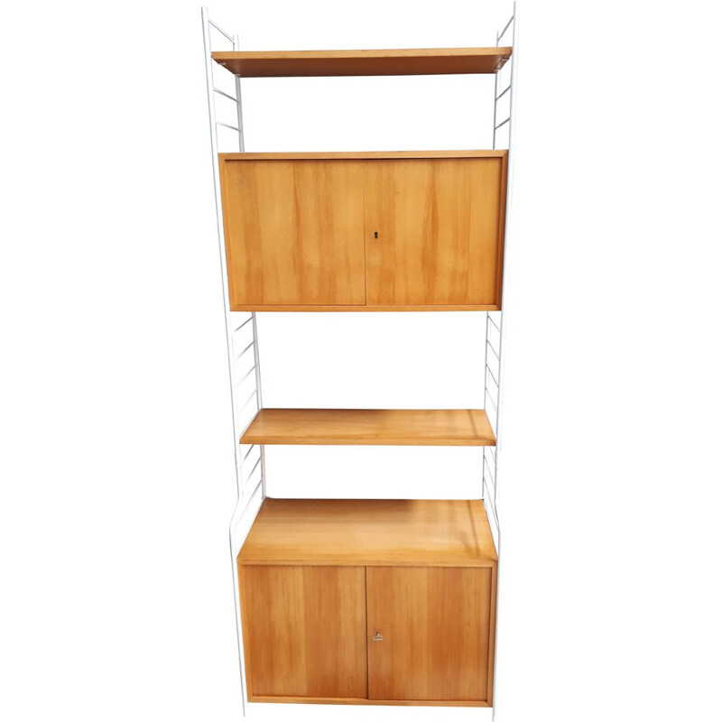 Vintage WHB wall unit in blond and White, Germany 1960s