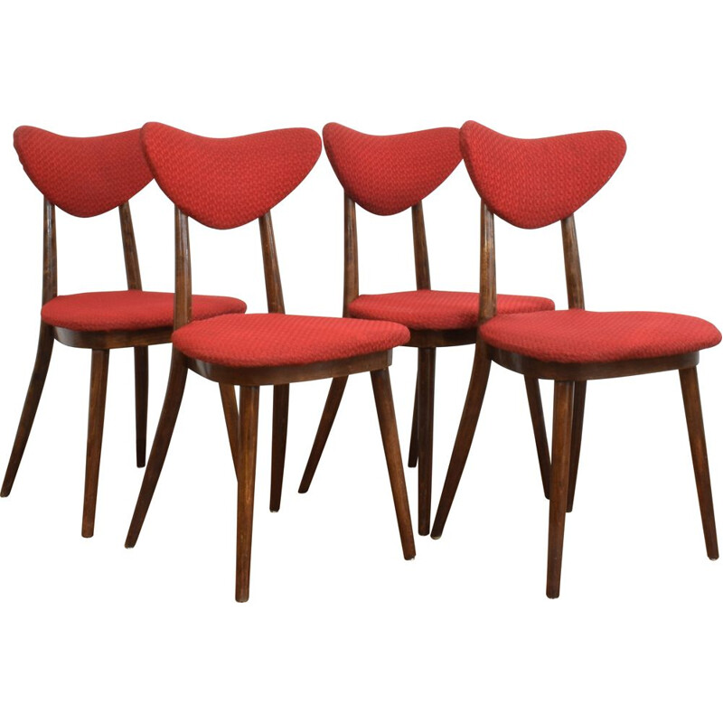 Set of 4 vintage Dining Chairs by Helena and Jerzy Kurmanowicz, Polish 1950s