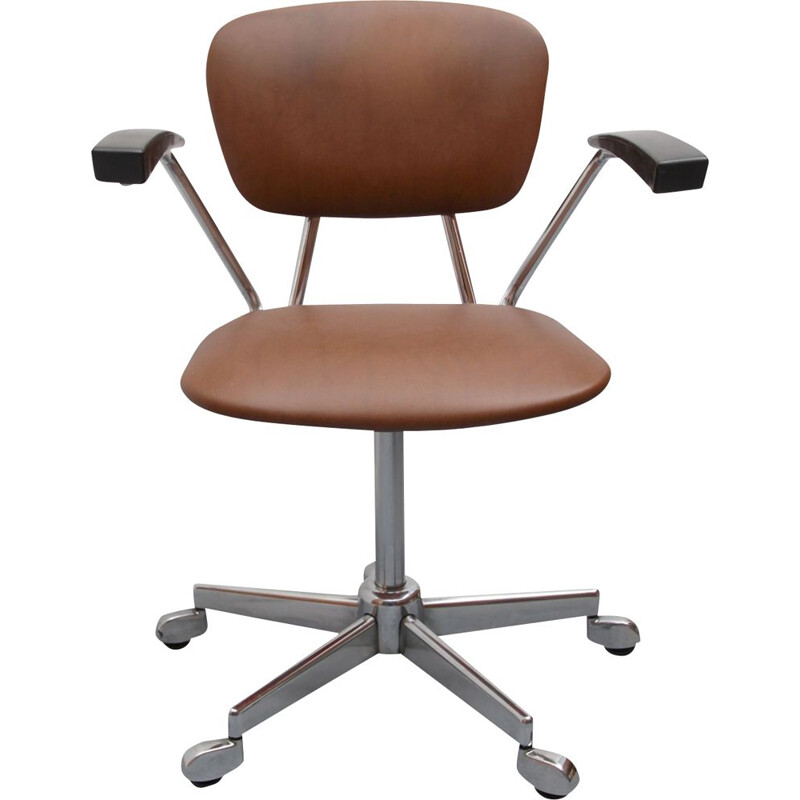 Vintage office chair in brown leatherette 1960s