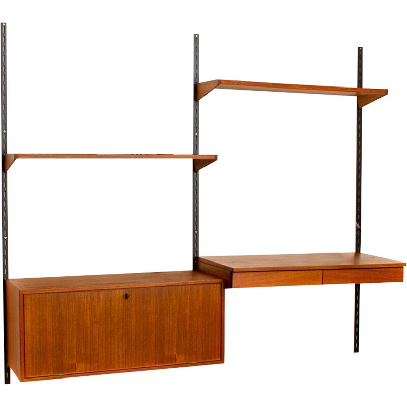 Vintage teak modular wall unit with desk by Kai Kristiansen for FM Mobler, Denmark 1960s
