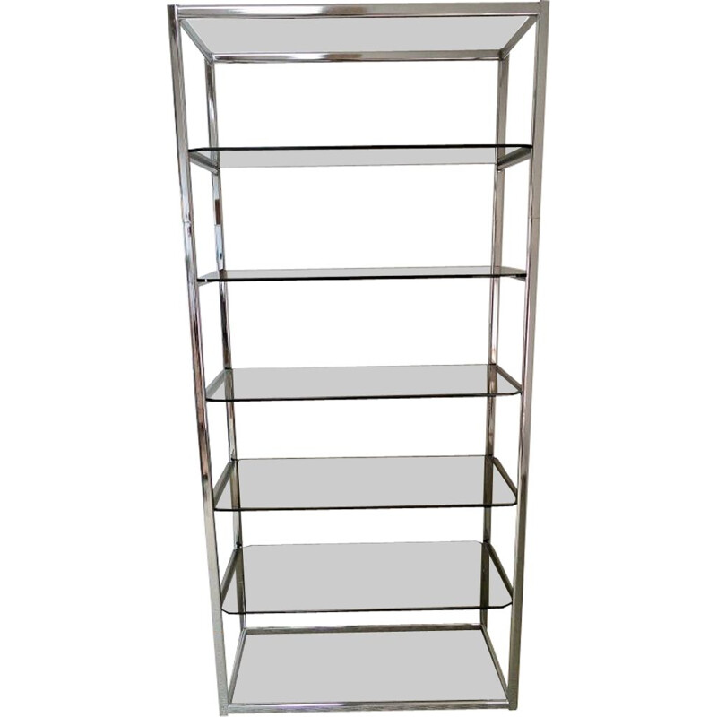 Vintage bookcase with chrome and smoked glass shelves 1970s
