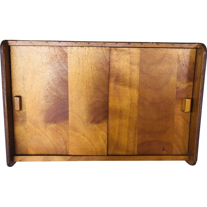 Vintage wall cabinet with sliding doors 1950s