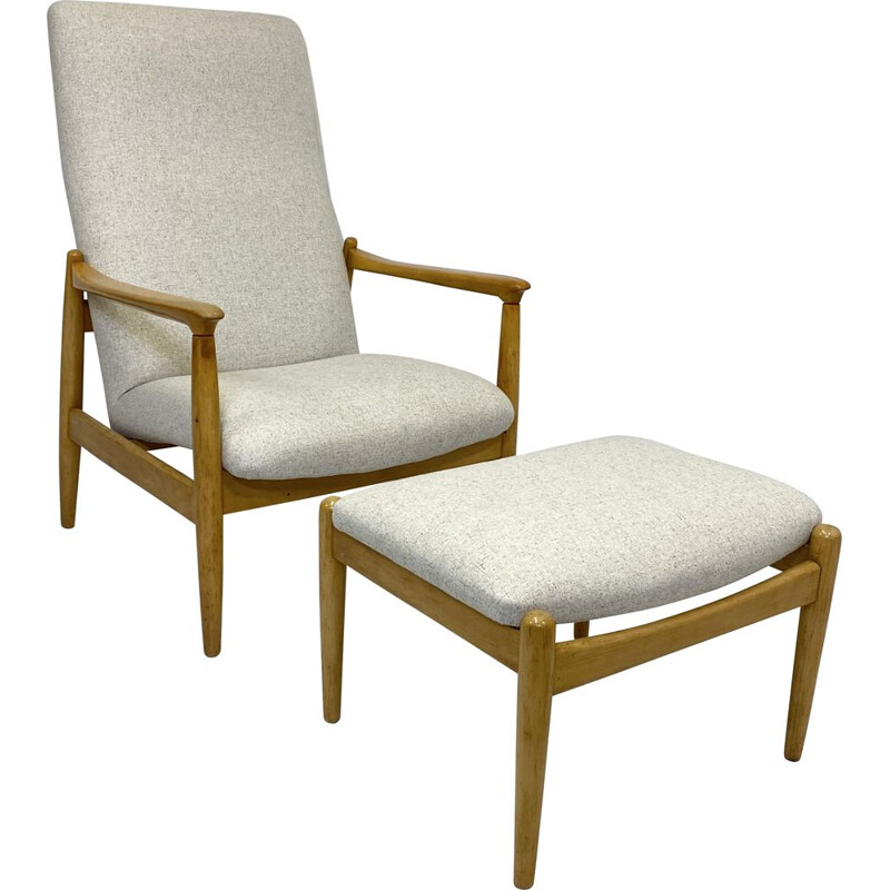 Vintage high back armchair with beige fabric ottoman by Edmund Homa 1970s