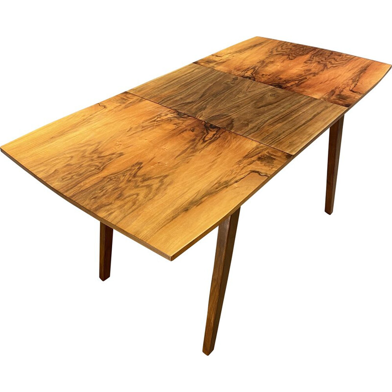 Vintage Extending Table Veneered Walnut Honey 1960s