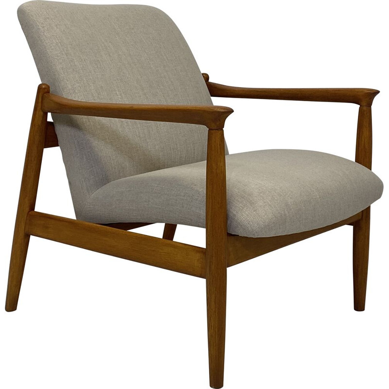 Vintage armchair GFM-142 by Edmund Homa in beige fabric 1960s