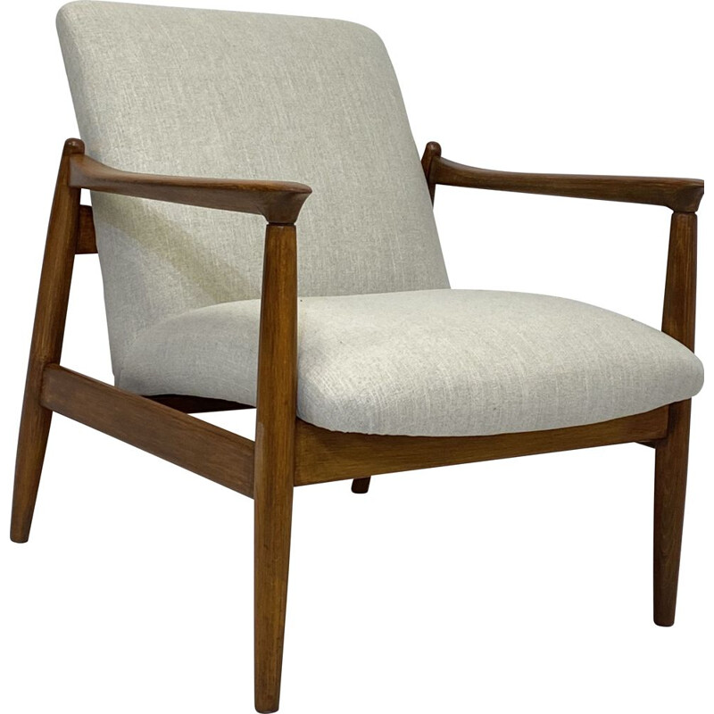 Vintage GFM-142 armchair in beige fabric by Edmund Homa 1960s
