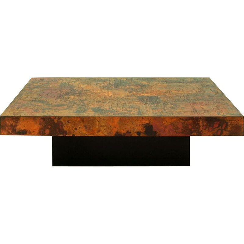 Large vintage Etched & Fire Oxidized Copper Coffee Table by Bernhard Rohne, German 1966s