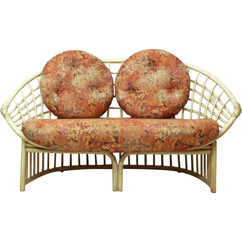 Vintage Multicolored Fabric & Rattan Two-Seater by Flechtatelier Schütz, German 1970s