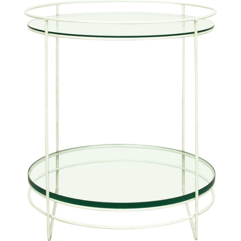 Vintage White Steel Rod & Glass Side Table, Germany 1960s