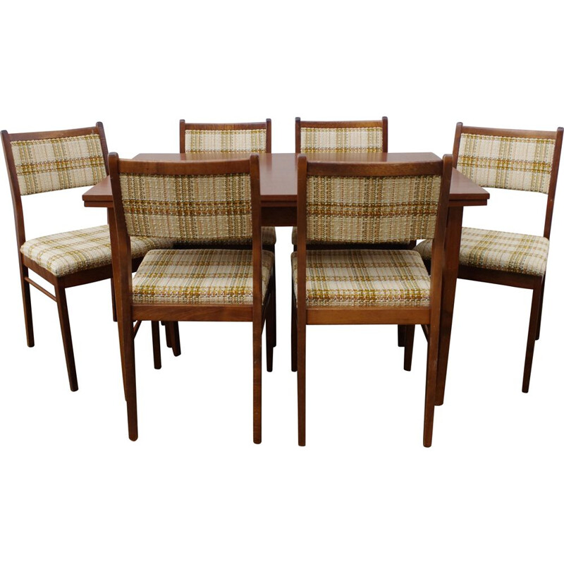 Vintage dining set, table and 6 chairs 1960s
