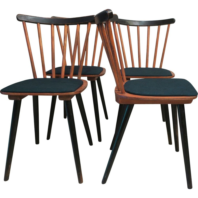 Set of 4 vintage Stick Back Dining Chairs with Petrol Blue Covers 1950s