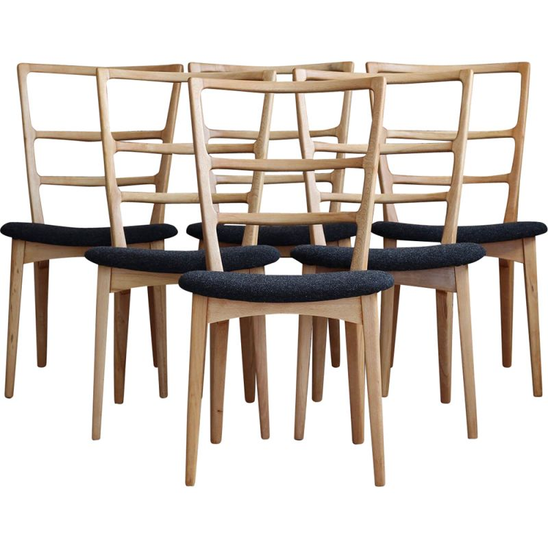 Set of 6 vintage Dining Chairs by Marian Grabiński in Kvadrat, Polish 1960s