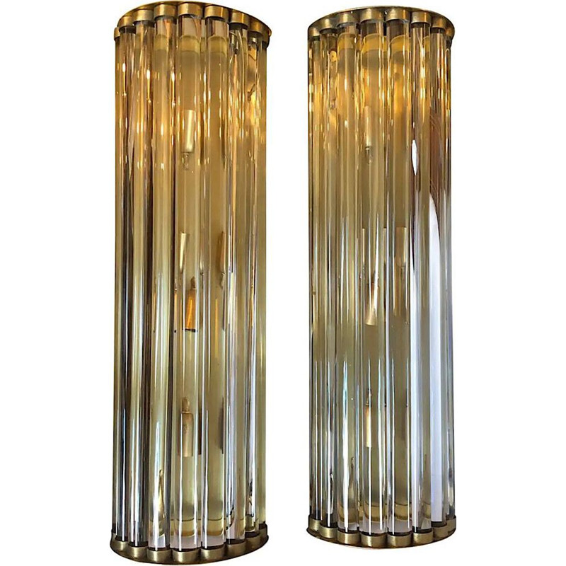 Pair of vintage Huge Modern Brass and Glass Wall Sconces, Italian 1970s