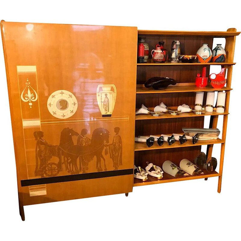 Vintage Vittorio Dassi Modern Bookcase and Wardrobe 1960