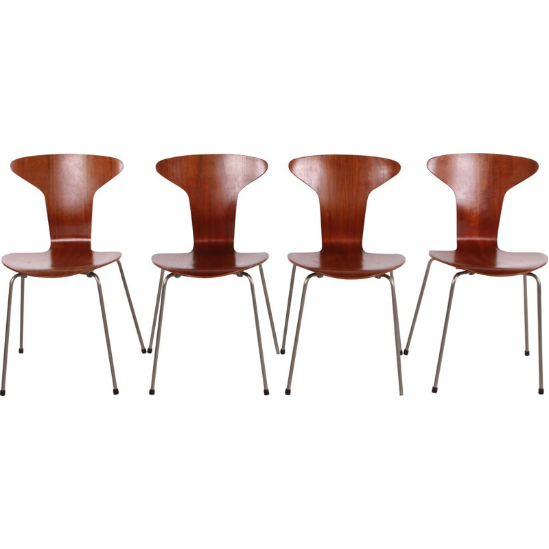 Set of 4 vintage Mosquito 3105 chair by Arne Jacobsen & Fritz Hansen, Denmark 1950s