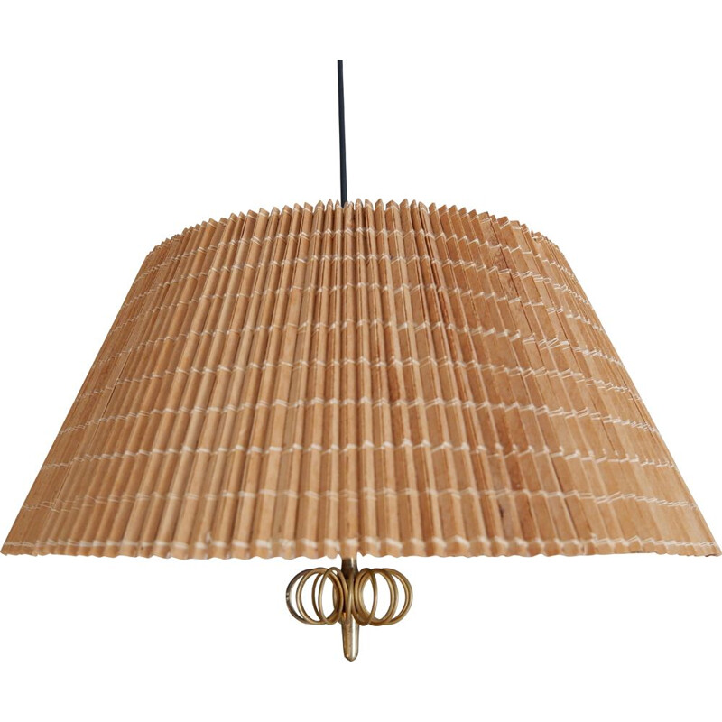 Vintage Paavo Tynell wood stripes and brass ceiling light for the interior of Hok Elanto, Finland 1950s