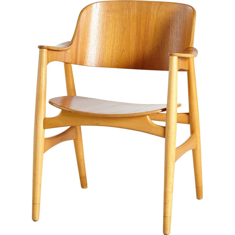 Vintage Oak Model 407 Armchair by Jens Hjorth for Randers Stolefabrik, Danish 1960s