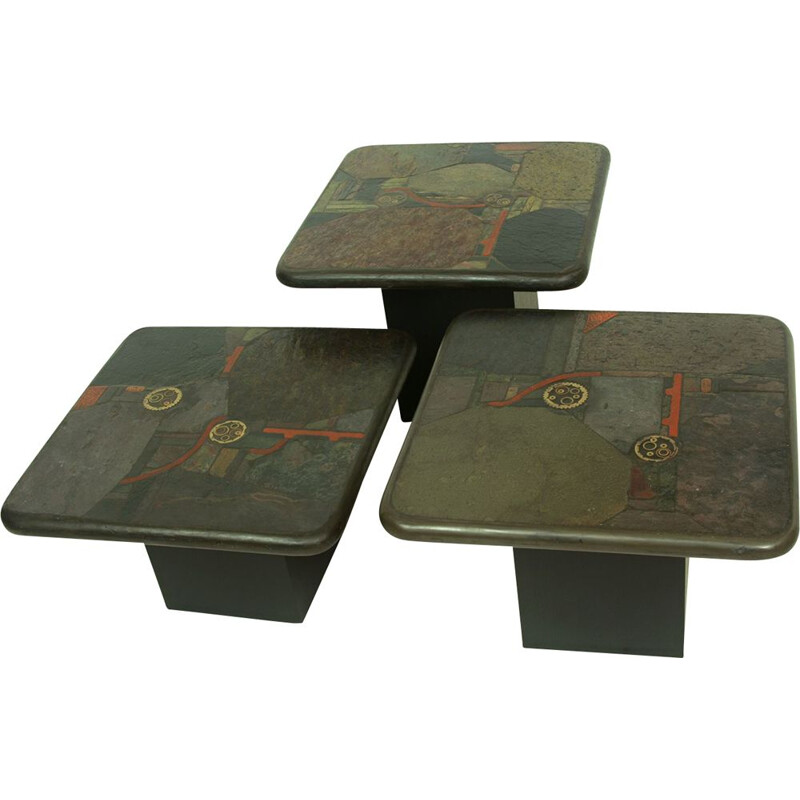 Set of 3 vintage Brutalist Nesting Tables by Paul Kingma for C. Kneip, German 1991s