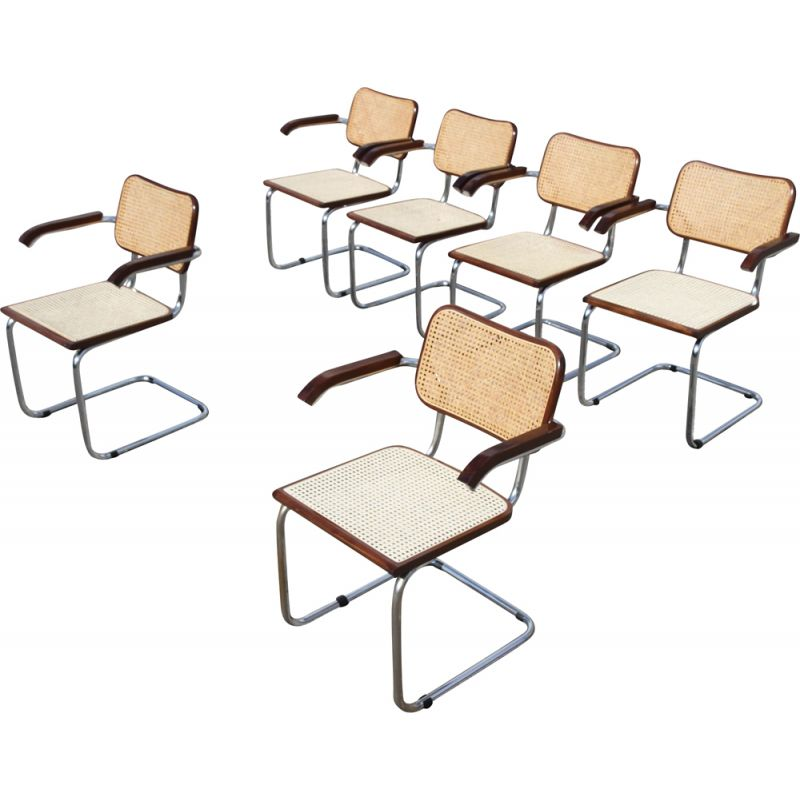 Set of 6 vintage B 64 armchairs by Marcel Breuer