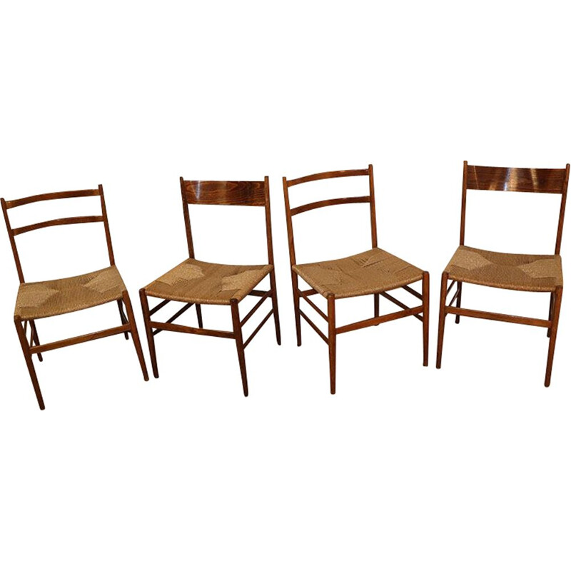 Set of 4 vintage rope chairs, Scandinav 1960s