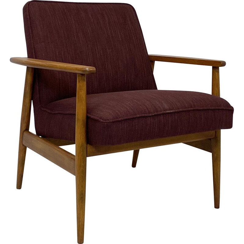 Vintage armchair in burgundy fabric by M. Zieliński, Danish 1960s