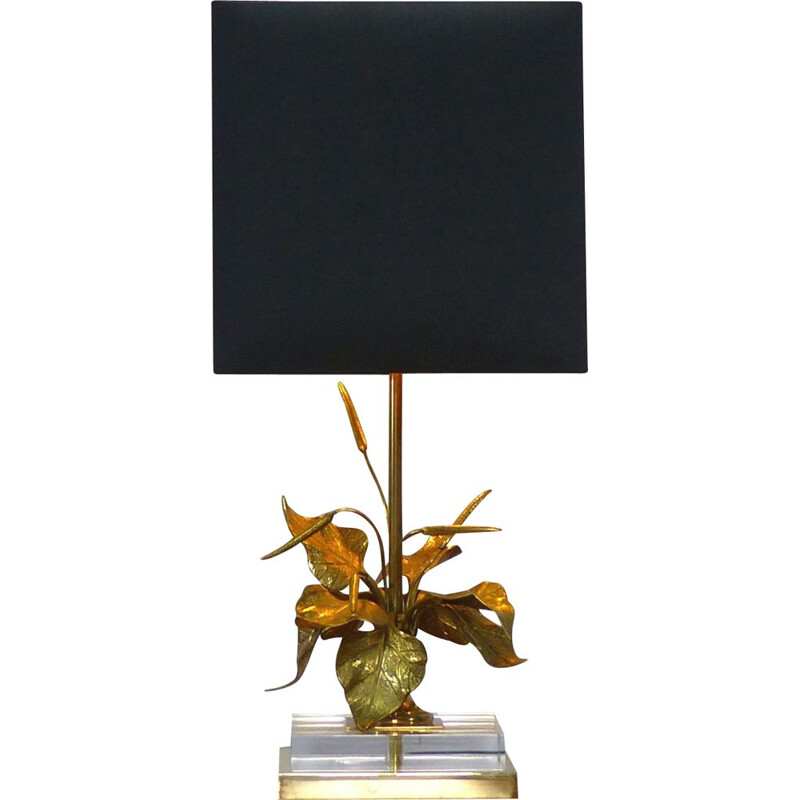 Vintage table lamp with gilded brass foliage 1970s