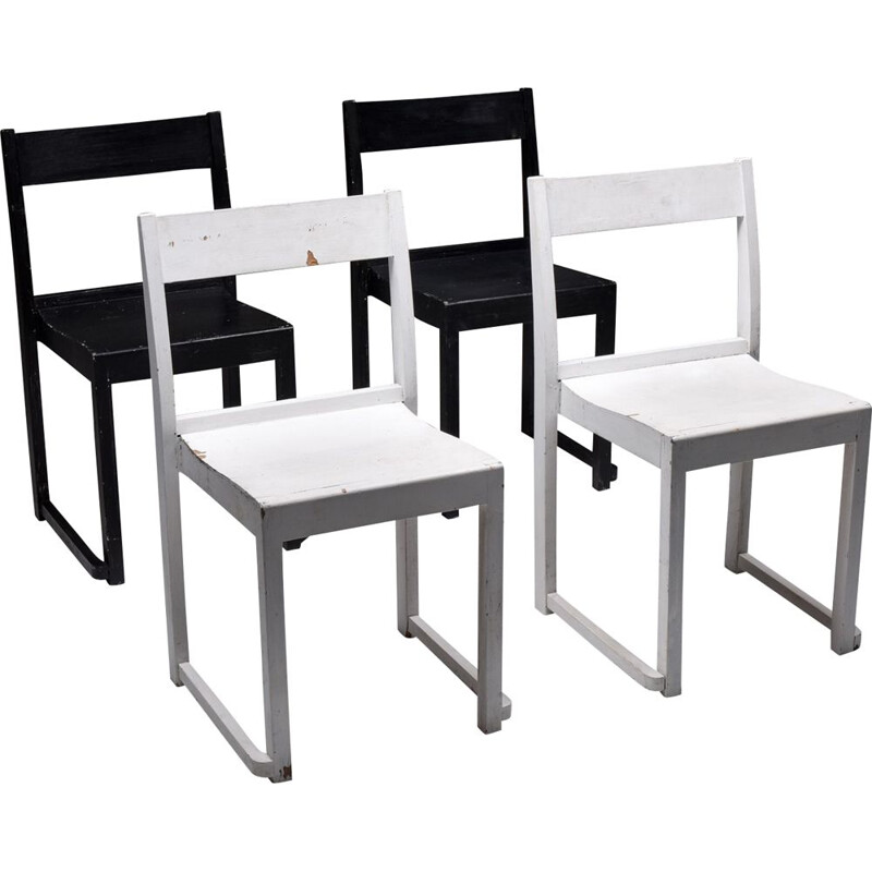 "Vintage ""Orchestra"" Chairs Black & White by Sven Markelius, Sweden 1930s"