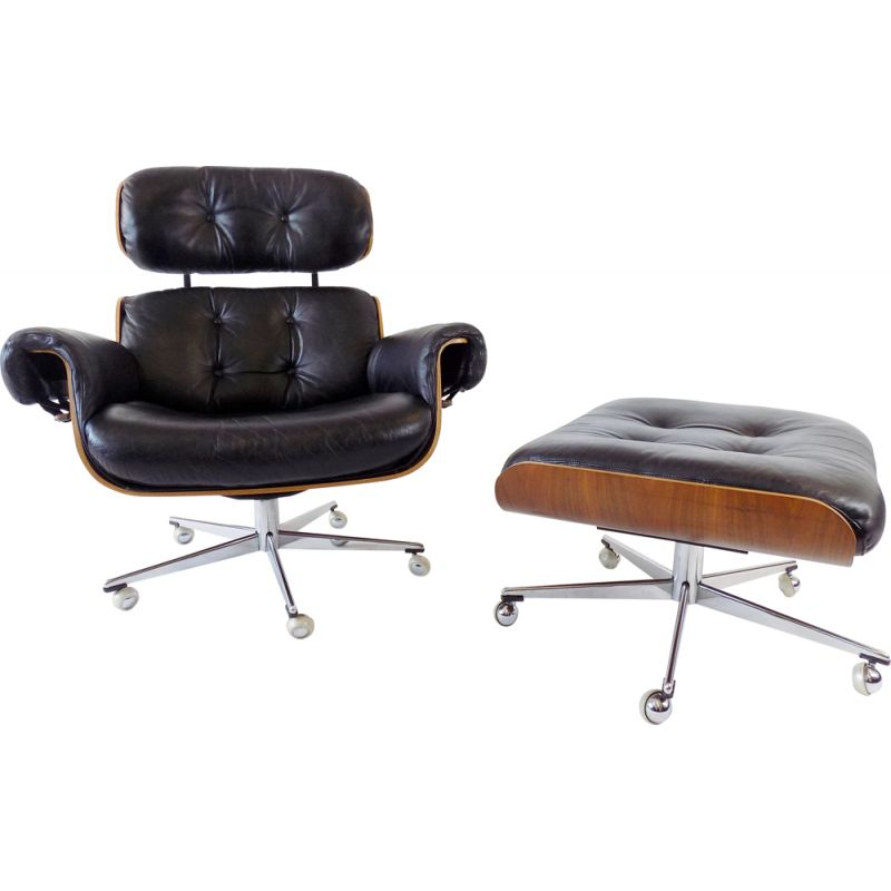 Vintage Martin Stoll leather armchair with ottoman 1960s